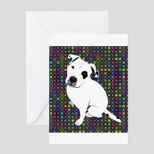 Cute white pit Bull circle pattern Greeting Cards