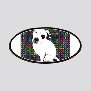 Cute white pit Bull circle pattern Patches