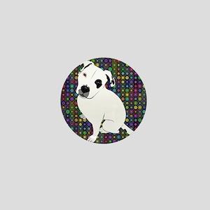 Cute white pit Bull circle pattern Mini Button