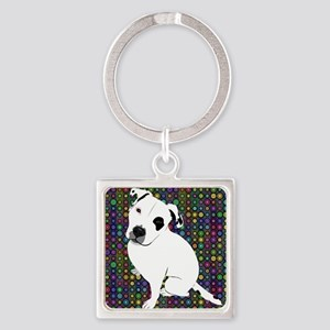 Cute white pit Bull circle pattern Keychains
