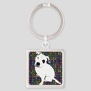 Cute white pit Bull circle pattern Keychains