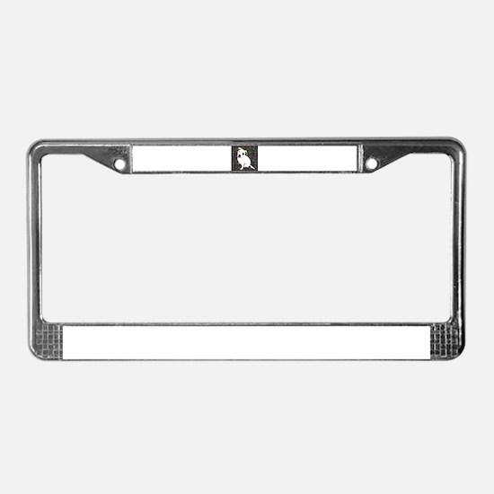 Cute white pit Bull circle pat License Plate Frame
