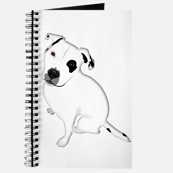 Cute Pitbull PuppyWhite Shaded Journal