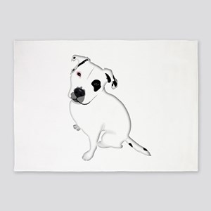 Cute Pitbull PuppyWhite Shaded 5'x7'Area Rug