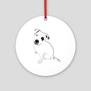 Cute Pitbull PuppyWhite Shaded Ornament (Round)