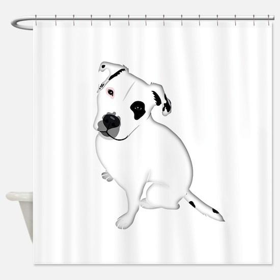 Cute Pitbull PuppyWhite Shaded Shower Curtain