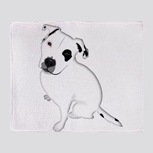 Cute Pitbull PuppyWhite Shaded Throw Blanket