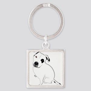 Cute Pitbull PuppyWhite Shaded Keychains