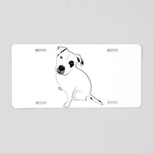 Cute Pitbull PuppyWhite Sha Aluminum License Plate