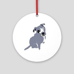 Cute Pitbull Puppy Grey Ornament (Round)