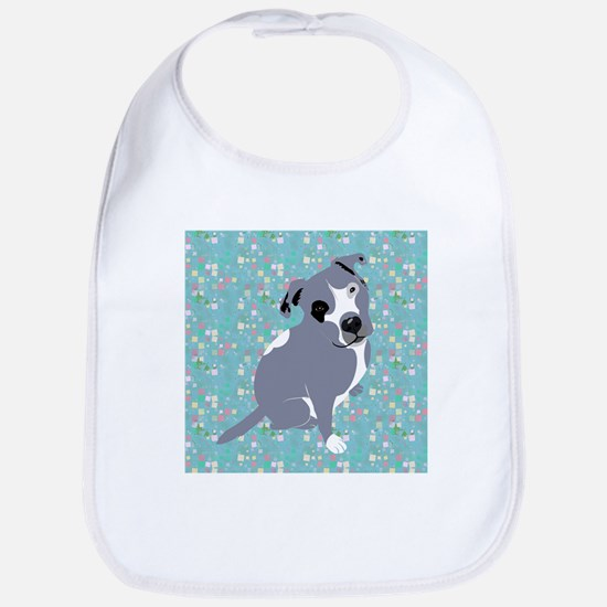 Cute grey pit Bull square pattern Bib