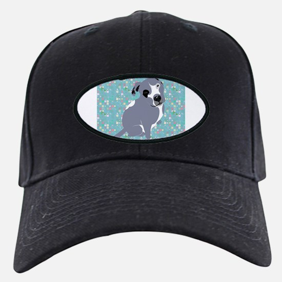 Cute grey pit Bull square pattern Baseball Hat