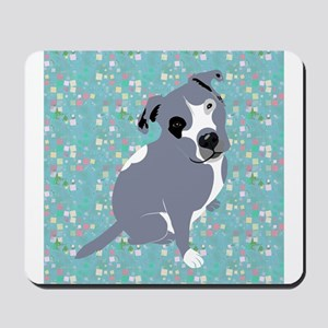 Cute grey pit Bull square pattern Mousepad