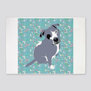 Cute grey pit Bull square pattern 5'x7'Area Rug