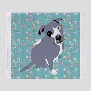 Cute grey pit Bull square pattern Throw Blanket