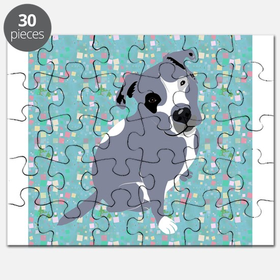 Cute grey pit Bull square pattern Puzzle