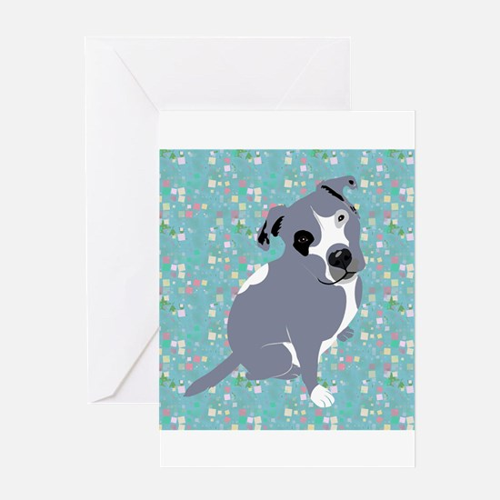 Cute grey pit Bull square pattern Greeting Cards
