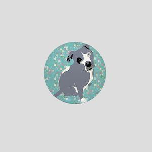 Cute grey pit Bull square pattern Mini Button