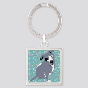 Cute grey pit Bull square pattern Keychains