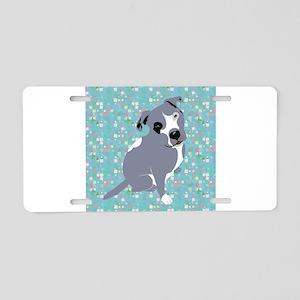 Cute grey pit Bull square p Aluminum License Plate