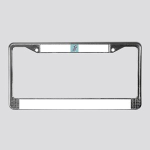 Cute grey pit Bull square patt License Plate Frame
