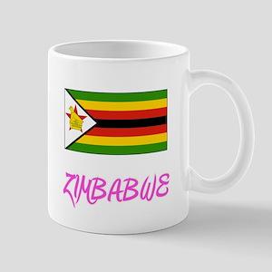 Zimbabwe Flag Artistic Pink Design Mugs