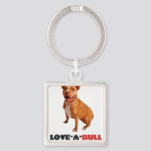 Cute Brown Pittie Love-a-Bull Keychains