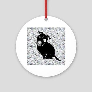 Cute black pit Bull rain pattern Ornament (Round)