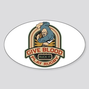 Give Blood Play Rugby Sticker (Oval)