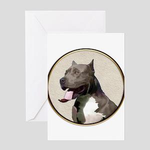 Black White Pit Bull Greeting Cards