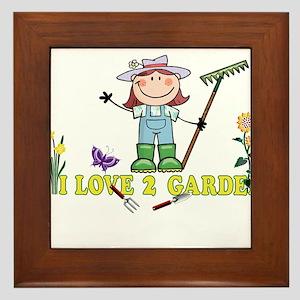 Light Girl Farmer brunette I LOVE 2 GA Framed Tile