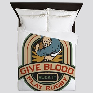 Give Blood Play Rugby Queen Duvet
