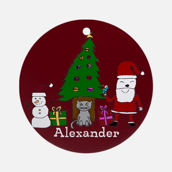 Christmas Santa And Cat Ornament (round)