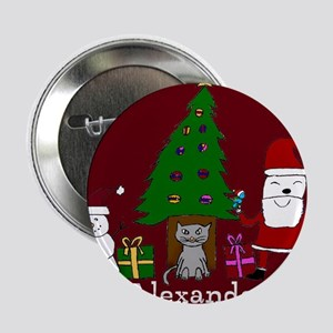 "Christmas Santa and Cat 2.25"" Button"