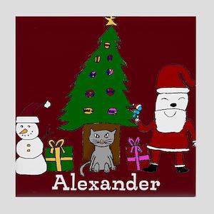 Christmas Santa and Cat Tile Coaster