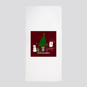 Christmas Santa and Cat Beach Towel