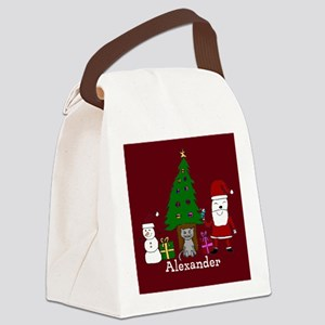 Christmas Santa and Cat Canvas Lunch Bag