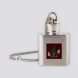 Christmas Santa and Cat Flask Necklace
