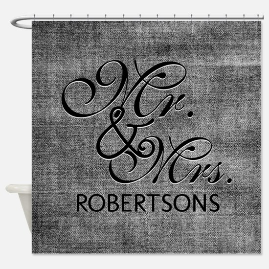 Black and White Mr. and Mrs.Persona Shower Curtain