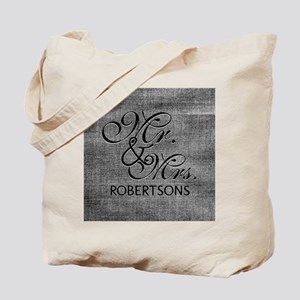 Black and White Mr. and Mrs.Personalized Tote Bag