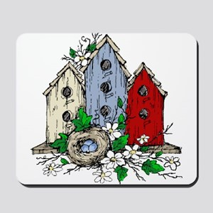 Three Birdhouses and a Nest copy Mousepad