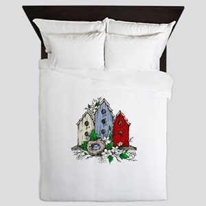 Three Birdhouses and a Nest copy Queen Duvet