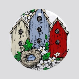 Three Birdhouses and a Nest copy Ornament (Round)