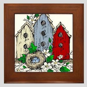 Three Birdhouses and a Nest copy Framed Tile