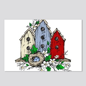 Three Birdhouses and a Ne Postcards (Package of 8)