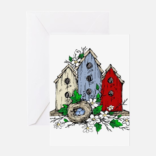 Three Birdhouses and a Nest copy Greeting Cards