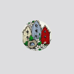 Three Birdhouses and a Nest copy Mini Button