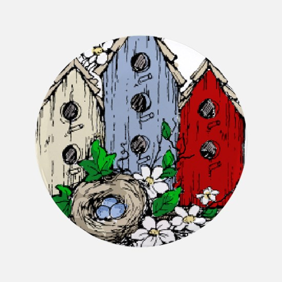 """Three Birdhouses and a Nest copy 3.5"""" Button"""