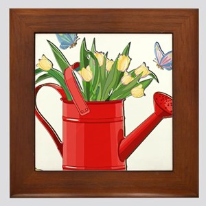 Shiny Red Watering Can with Yellow Tul Framed Tile