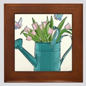 Shiny Blue Watering Can with Pink Tuli Framed Tile